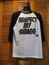 Crew Neck T-Shirt, Raglan 3/4 Sleeves, Respect My Swagg, Size L, Black/White