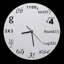 New novelty modern wall clock with math equations as digits to represent numbers