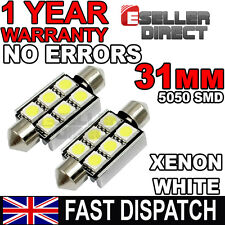 2x Festoon Bulbs 30 31mm 6 SMD LED 5050 C5W Pure White Interior Light Car 12V