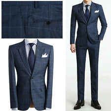 BLUE Best Men s 2BT Slim Fit Casual Check Suit Wedding Suits Tuxedos UK US 36R