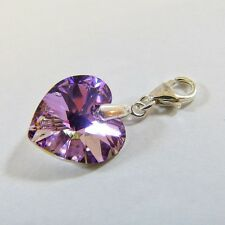Sterling Silver Clip-On Bracelet Charm Swarovski Element Crystal Heart VL Purple