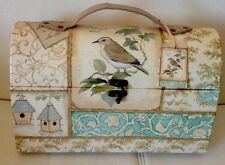 NWT BIRD CAGE FLORAL STORAGE DECOR TRAVEL CARDBOARD BOX CONTAINER RARE DESIGN