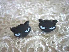 BLACK EVIL KITTY KITTEN STUD EARRINGS ... GOTH / EMO / CAT / PLASTIC / STEEL