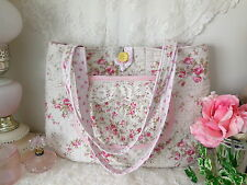 Romantic~Abby PiNK ROSES Quilted SHOULDER BAG~Ruffle Lace Pocket~VTG BUTTON NEW!