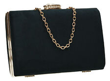 Womens Faux Suede Velvet Ladies Evening Party Prom Bridal Smart Box Clutch Bag