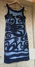 Ladies M&S Per Una Speziale Black/Grey Linen Blend Cocktail Dress Size 12