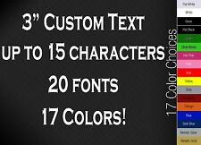 "3"" CUSTOM VINYL LETTERING/TEXT - Personalized Wall, Window, Car Sticker Decal"