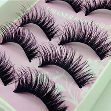 5Pairs Natural Long Black Eye Lashes Makeup Handmade Thick Fake False Eyelashes