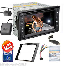 GPS Navigation 2 DIN Car Stereo DVD MP3 Player Bluetooth Auto Radio iPod+CAMERA