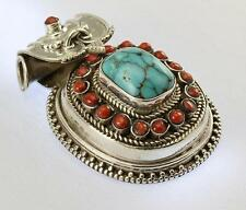 TURQUOISE CORAL PENDANT 925 STERLING SILVER ARTISAN JEWELRY COLLECTION H119