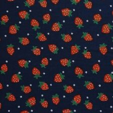 Navy Blue 100% Cotton Red Strawberries Polka Dot Fabric