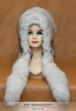 Blue FOX Fur Hat Eskimo White Winter Chapka Blaufuchs Fellmütze Fuchs Pelzmütze