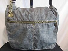 "KIPLING Large Nylon ""Denim"" Blue Expndbl Laptop/Messenger/Shoulder Bag w/Monkey"