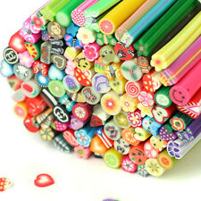 100pcs Nail Art Fimo Canes Rods Sticks Slice Design Decoration DIY Tips + Blade