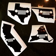 X1 Jeep State Vinyl Decal Sticker ANY STATE ANY COLOR Wrangler Jk Tj Rubicon