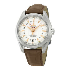 Omega Seamaster Aqua Terra GMT Silver Dial Brown Leather Mens Watch