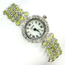 Sterling Silver 925 Three Row Genuine Natural Apple Green Peridot Watch 7.5 Inch