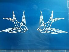 Swallow bird 2/pair tattoo style decal Sailor Jerry Ed Hardy Jdm many colors