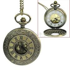 Xmas New Steampunk SI Bronze Hollow Style Pocket Watch Necklace Gifts