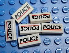 LEGO Decorated Tile 1 x 2 with 'POLICE' Red Line Pattern x6PC