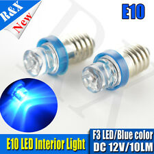 2x E10 SMD F3 1 LED Xenon Blue Bulb MES Screw Torch Headlamps/Light DC12V 10000K