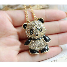 Fashion Vintage Rhinestone Women Girl Panda Sweater Necklace Pendant Chain Gift