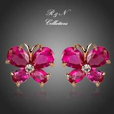 18K Gold Plated Rose Red Swiss Cubic Zirconia Butterfly Stud Earrings (E413-26)