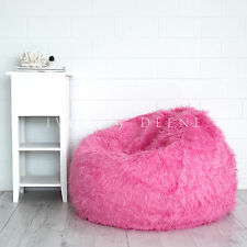 PINK FUR BEANBAG Cover Soft Bedroom Luxury Polo Bean Bag Lounge Movie Chair New