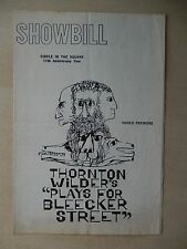 September 1962 - Circle In The Square Playbill - Plays For Bleecker Street