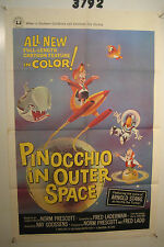 Pinocchio in Outer Space Original 1sh Movie Poster '65 sci-fi cartoon artwork,