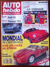 b)AUTO HEBDO 645 du 5/10/1988; Mondial de l'automobile/ Essai Audi V8/ GP d'espa