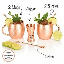 The Full Moscow Mule Kit - Set of Two 16 Oz Copper Mugs - 100% Solid Copper Cups