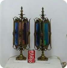 Antique Vtg Pair Spain Brass Marble Lantern w/ Multi-colored Glass Table Lamps