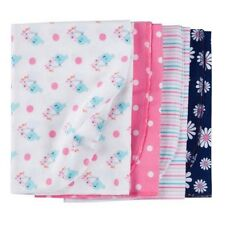 Gerber Girl 4-Pack Coral/Navy Flannel Multi-Purpose Blankets BABY SHOWER GIFT