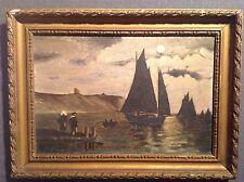 Tableau ancien signé huile / toile Marine Clair de lune Seascape Moonlight  Oil