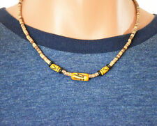 """Handmade in the USA- 19"""" Unisex Stained/Carved Bone & Tigerwood Beads Necklace"""