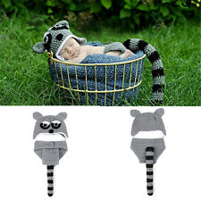 Crochet Raccoon Baby Boy Hat Diaper Set Knitted Newborn Animal Photo Props