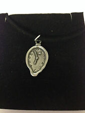 DALI CLOCK REFMELTCPKR   Motif Pewter  PENDENT ON A  BLACK CORD  Necklace
