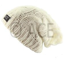ACE Womens Hat Cable Wool Knit Slouch Ladies Beanie Hat Patterned Knitted Hats