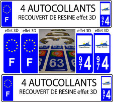 "4 stickers plaque immatriculation auto TUNING DOMING 3D RESINE REUNION 974 + ""F"""