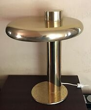 MID CENTURY MODERN UFO Eames Danish GOLD Brass Atomic Flying Saucer DESK LAMP