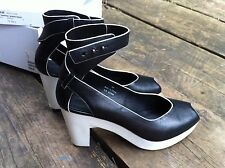 And Other Stories....Black Leather Ankle Strap white Rubber Heel Shoe size Uk 38