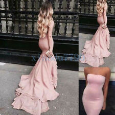 Long Mermaid Pink Evening Cocktail Formal Party Ball Bridesmaid Prom Gown Dress