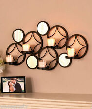 Round Circle Mirror Wall Sconce Candle Votive Holder Metal Accent Wall Decor Art