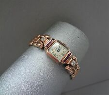 VINTAGE LADIES 10K ROSE GOLD BELMAR WATCH W/ DIAMONDS & RUBIES - GF BRACELET