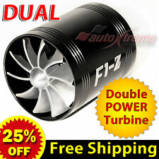 For HYUNDAI Air Intake Dual Fan TURBO Supercharger Turbonator Fuel Saver BLACK