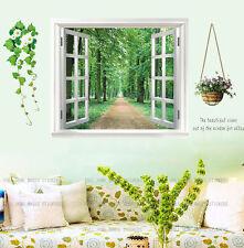 Gran ventana 3d Verde Vista Flores Planta pegatinas de pared arte mural de papel pintado