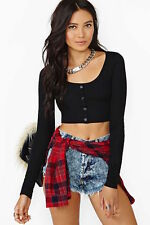 nasty gal Cruel Nights Crop Top -small black
