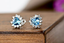 NEW 925 Sterling Silver Ocean Blue White Crystal Stack Heart Earrings Stud Charm