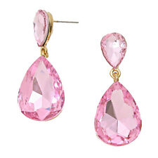 Pink earrings crystal teardrop prom party evening bling sparky dangly 0211